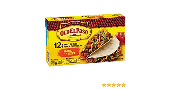 Amazon.com : Old El Paso Hard and Soft Taco Shells 12 ct 7.4 oz Box : Grocery & Gourmet Food