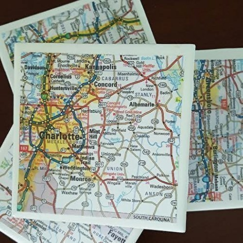 - North Carolina Map Coasters, Featuring Charlotte, Set of 4, For Drinks and Candles