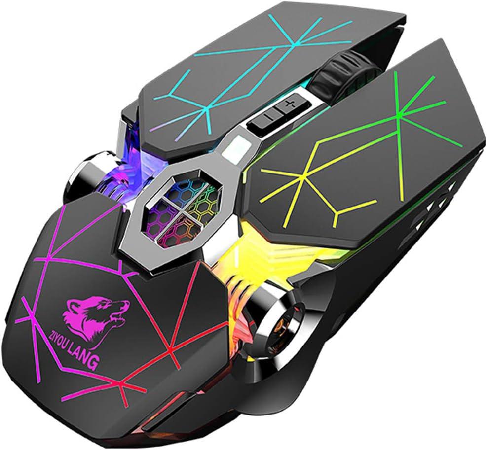 Zienstar-Ratón Inalámbrico para Juegos de 2,4 GHz con Receptor USB,2400 dpi,Retroiluminación de 7 Colores,Clic Deslizante,Batería de Litio Recargable de 500 Mah -Negro