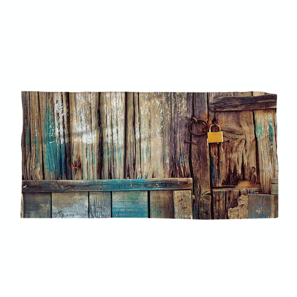 iPrint Cotton Microfiber Beach Towel,Rustic,Aged Shed Door Backdrop with Color Details Country Living Exterior Pastoral Mansion Image,Brown,for Kids, Teens, and Adults