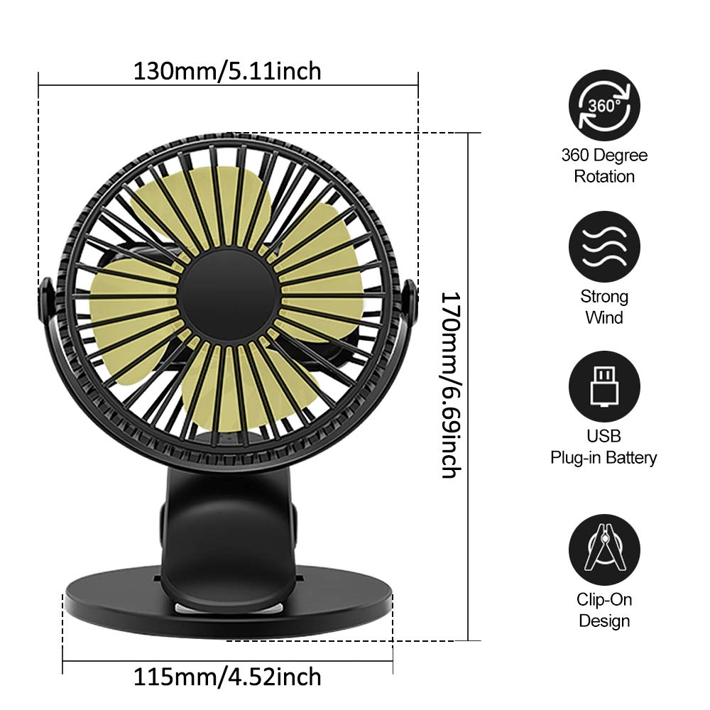 Personal Clip or Desk Fan with Speeds Settings,USB Desk Fan,Clip and Table USB Fan #1