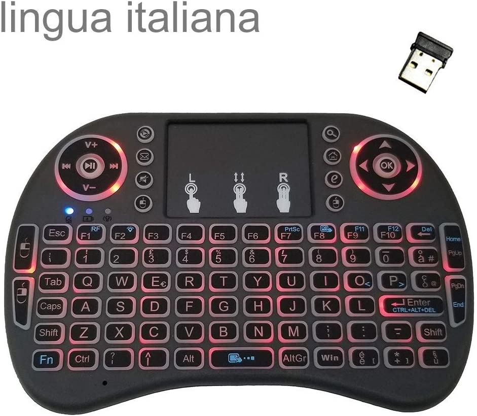 Computer Accessories Support Language Italy i8 Air Mouse Wireless Backlight Keyboard with Touchpad for Android TV Box /& Smart TV /& PC Tablet /& Xbox360 /& PS3 /& HTPC//IPTV