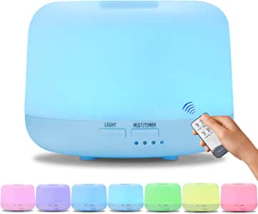 300ml Aromatherapy Essential Oil Diffuser Humidifier Room Decor Lighting with Remote Control and 7 LED Color Changing Lights, for Home Office Living Room Yoga Spa