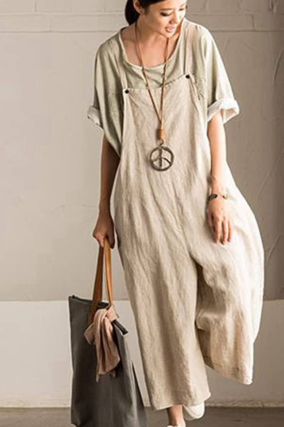 62c4810e2d1 Amazon.com  FantasyLinen Jumpsuits for Women Plus Size Linen Overalls   Clothing