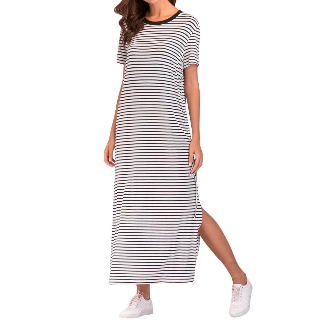 929645c765e Amazon.com  DEATU Women Casual Patchwork Classic Striped Loose Bohe Short  Sleeve Long Dress  Clothing