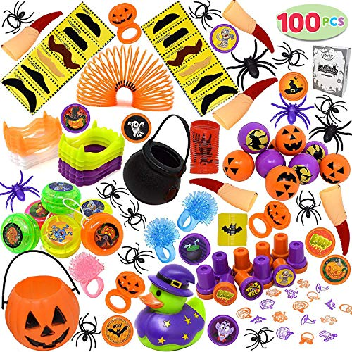 JOYIN Over 100 Pieces Halloween Toys Assortment for Halloween Party Favors, School Classroom Rewards, Trick or Treating, Halloween Miniatures, Halloween Prizes ()