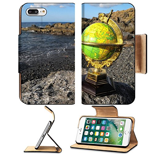 MSD Premium Apple iPhone 7 Plus Flip Pu Leather Wallet Case IMAGE ID: 34866122 Ancient Vintage Globes Planet Earth near the Atlantic Ocean