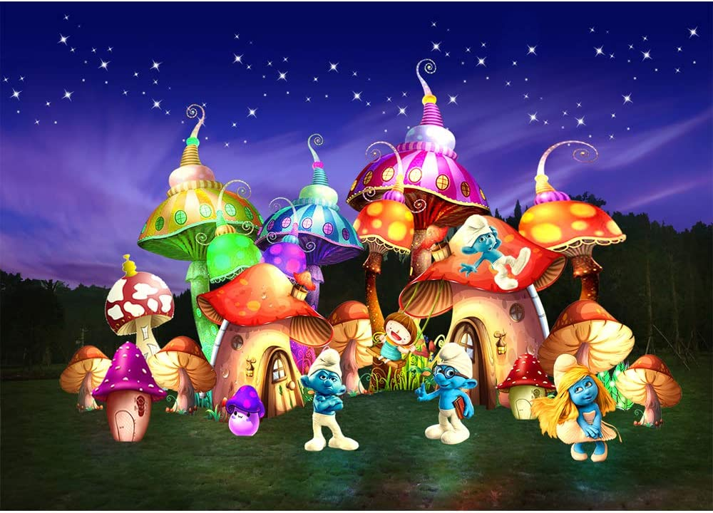 Photo Backdrop 7x5 Birthday Backgrounds for Kids Blue Starry Night Fairytle Mushroom House with The Smurfs Baby Shower Backdrops for Party Décor