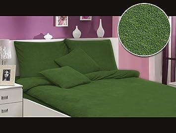 Modhaus Bettwäsche Set Frottee Einfarbig Schöne Farben Viele Größen 2anzeige Dunkelgrün 200x2202x80x80