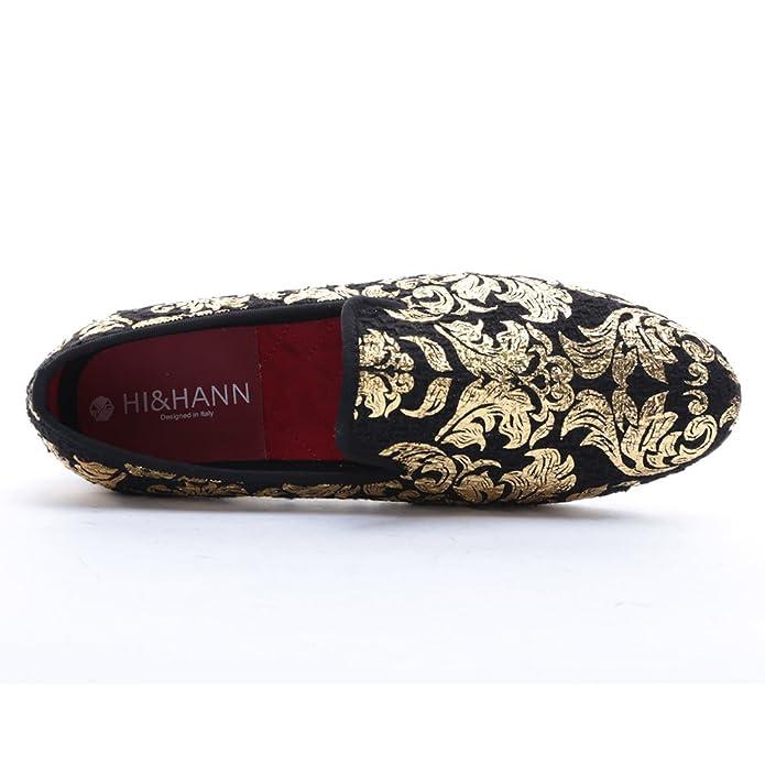 e4bddb95acc8c HI&HANN Gold Printing Men's Velvet Loafer Shoes Slip-on Loafer Round Toes  Smoking Slipper