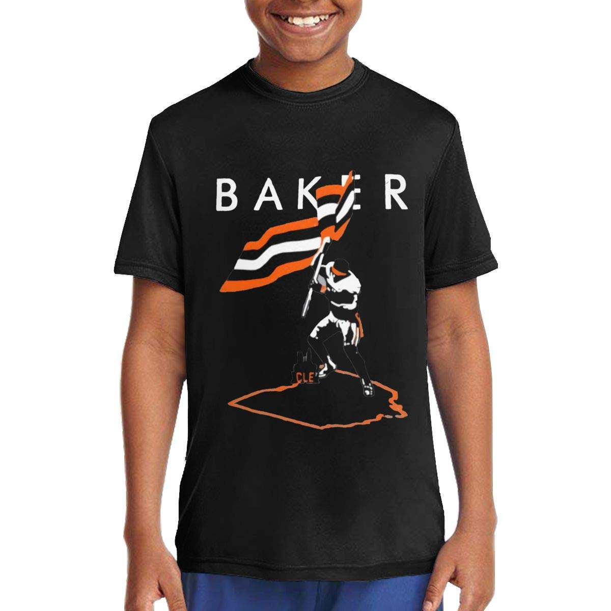 Baker Mayfield Flag Plant Music//Rock//Singer Cotton Round Neck Short Sleeve Shirts for Teen Boys and Girls Classic Fit Black