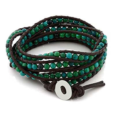 bracelet natural quality wrap precious shipping semi fashionable item beaded boho stone women high weaving unisex free leather rope