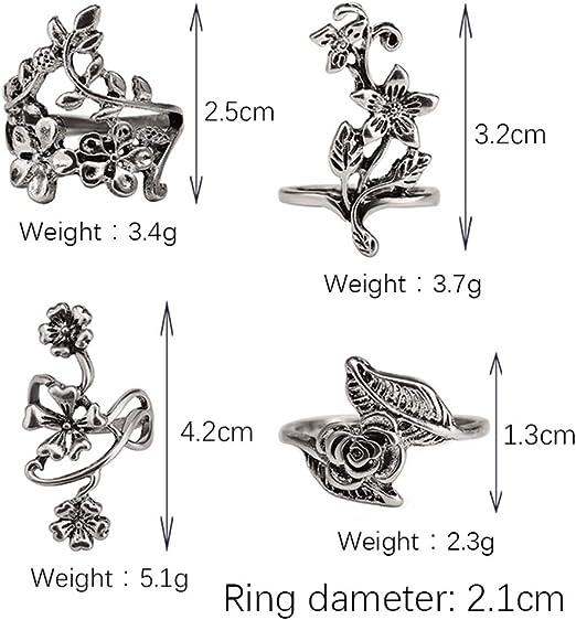elegantstunning 4pcs//Set Women Vintage 3D Flower Leaf Rings Finger Ring Set Delicate Punk Jewelry