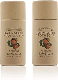 product image for Farmstead Apothecary 100% Natural Lip Balm with Organic Beeswax, Organic Shea Butter & Organic Coconut Oil, Apricot 0.2oz (Pack of 2)