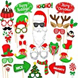 (Set of 32)Merry Christmas Party Photo Booth Props,DIY Party Favors & Supplies, New Year's Eve Decorations Art Crafts