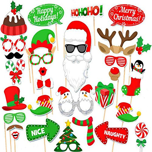 (Set of 32) Merry Christmas Party Photo Booth Props,DIY Party Favors & Supplies, New Year's Eve Decorations Art Crafts -
