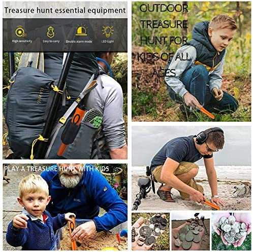 Waterproof Pinpoint Metal Detector Pinpointer - Fully Waterproof to 10-20 toes Orange for Adults and Kids