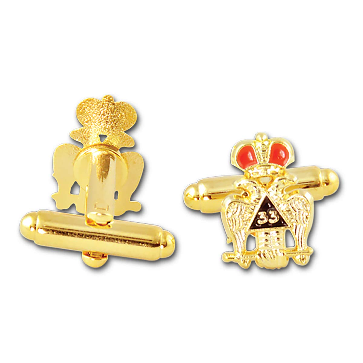 Masonic 33rd Degree Crowned Double Headed Eagle Gold Cufflink Set - 1/2'' Tall