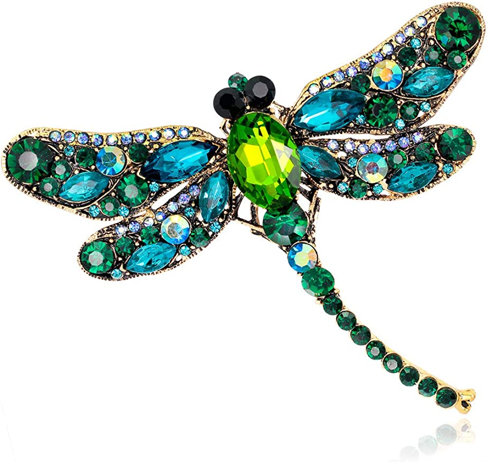 SloveM Crystal Rhinestone Dragonfly Brooch - Enamel Pin Jewelry Birthday Gifts for Women Men