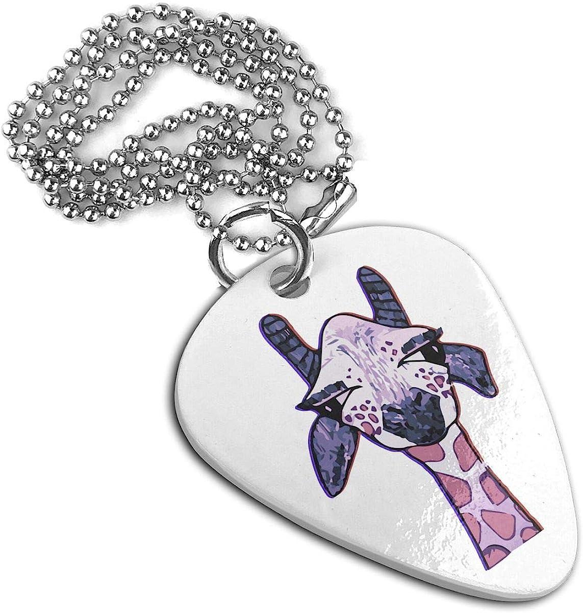 HAPPY GIRAFFE 3D Pink Custom Guitar Pick Pendant Necklace Keychain