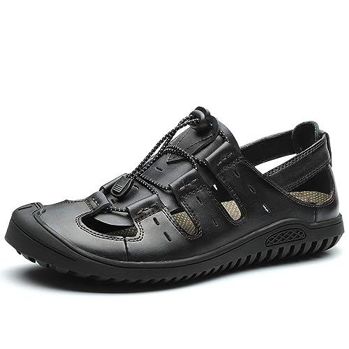Sommer Herren Geschlossen Zehe Leder Sandalen Sport Outdoor Wander Sandalen Strand Schuhe Schwarz HellDunkel braun Größe 38.7 45.3 EU