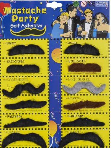 Forum Novelties Self-Adhesive Moustaches (12 Styles) (Novelty Mustache)
