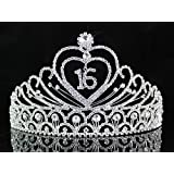 Janefashions Sweet Sixteen 16 Birthday Party Austrian Rhiestone Tiara Crown Hair Combs T1629