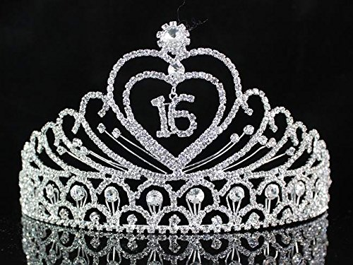 Janefashions Sweet Sixteen 16 Years Old 16th Birthday Party Clear White Austrian Rhinestone Crystal Metal Tiara Crown With Hair Combs Princess Silver T1629]()
