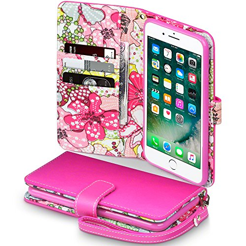 Beautiful Pink Lilies (iPhone 7 Plus Case - Terrapin iPhone 7 Plus Wallet - Beautiful Lily Floral Women's Case Folio Flip - Card Slots - Money Pocket - Wristlet - Pink with Lily)