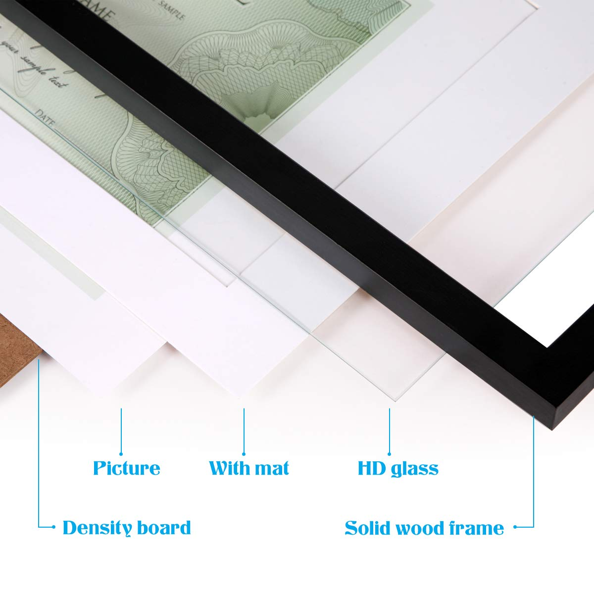 JAYONG 11 x 14 Picture Frames Made of Solid Wood and High Definition Glass Display Document Frame 8.5x11 with Mat or 11x14 Without Mat for Wall mounting Photo Frame Black 1 Pack