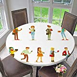 PINAFORE HOME Picnic Circle Table Cloths University and College Students Street Fashion Looks Set for Family Dinners or Gatherings 35.5''-40'' Round (Elastic Edge)