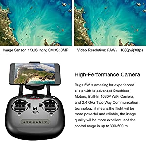 LOHOME B2W Bugs 2 W RC Quadcopter - 2.4GHz 6-Axis Gyro 1080P HD 5G Wifi Camera FPV Drone Remote Control Drone Folding Aircraft from LOHOME