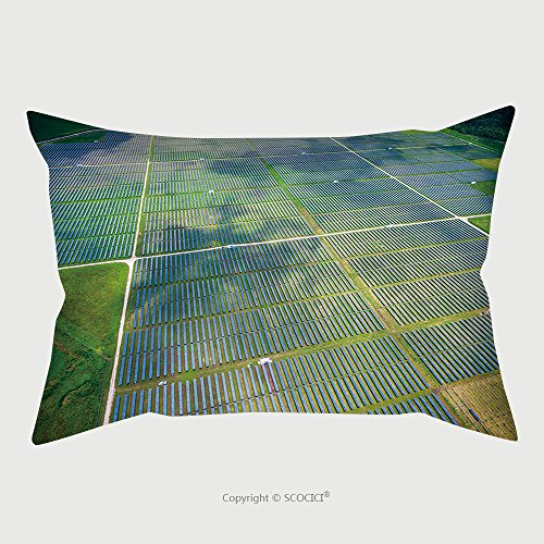 Custom Satin Pillowcase Protector Aerial View Over Solar Panel Farm Outside Of Austin Texas In Webberville A Megawatt Power 460609321 Pillow Case Covers Decorative by chaoran