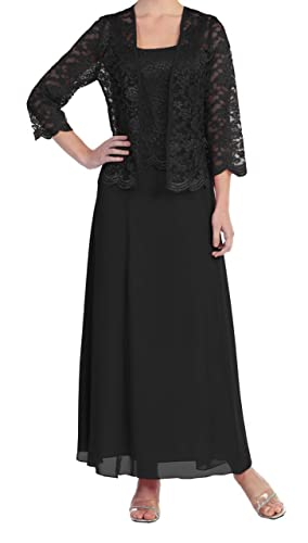 Fnina Women's Long Mother of Bride Dresses with Jacket Formal Gown M033