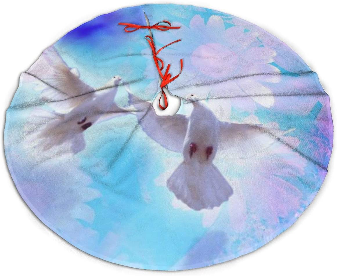Christmas Tree Skirt, Dove of Peace Print Rustic Or Stylish Xmas Tree Holiday Decorations, Ornaments for 2020 New Year