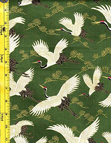 Quilt Gate - Japanese, Asian, Quilting, Sewing Fabric - Quilt Gate - 1000 Crane (Tsuru) Collection - Flying Cranes & Pines - HR3290-13D - Green
