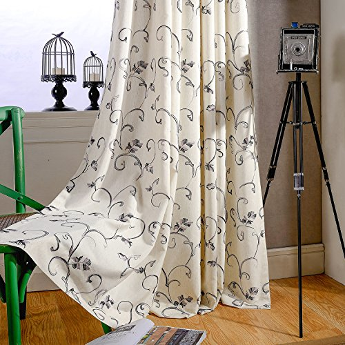 VOGOL 2 Panels Ultra Sleep Vines Embroidered Faux Linen Grommet Curtains for Living Room,Energy Efficient Window Treatment Panels,52 x 96 Inch, Grey (Embroidered Linen Vintage)