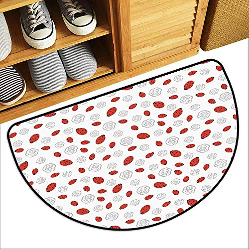 DILITECK Pet Door mat Ladybugs Abstract Flower Silhouettes Nature Illustration Children Cartoon Style with Anti-Slip Support W24 xL16 Vermilion Black Grey ()