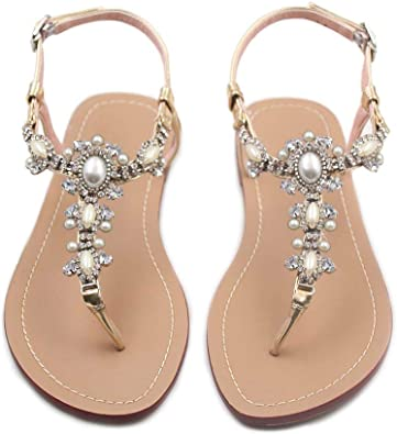 azmodo Flat Sandals with Rhinestones for Women Flip Flop Wedding Gladiator  Shoes Gold Color
