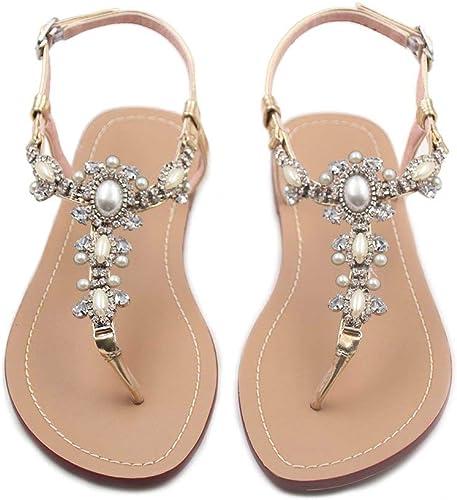 NEW White Rhinestone Bead Flat Thongs sandal shoes