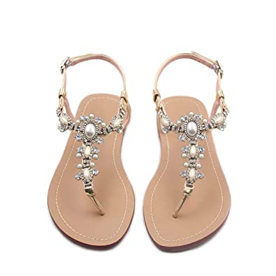 967d294ba6309 azmodo Flat Sandals with Rhinestones for Women Flip Flop Wedding Gladiator  Shoes Gold Color