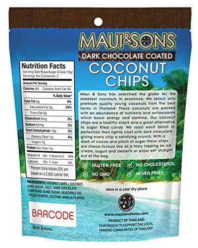 Maui & Sons Dark Chocolate Coated Coconut Chips 6 bags 1.2 oz