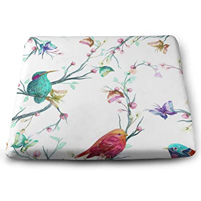 Yunshm Bird Butterfly and Flower Leaf Branch Watercolor Solid Square Seat Cushion Bar Stool Office Chair Cushion Soft for Furniture Decoration Personalized: Home & Kitchen