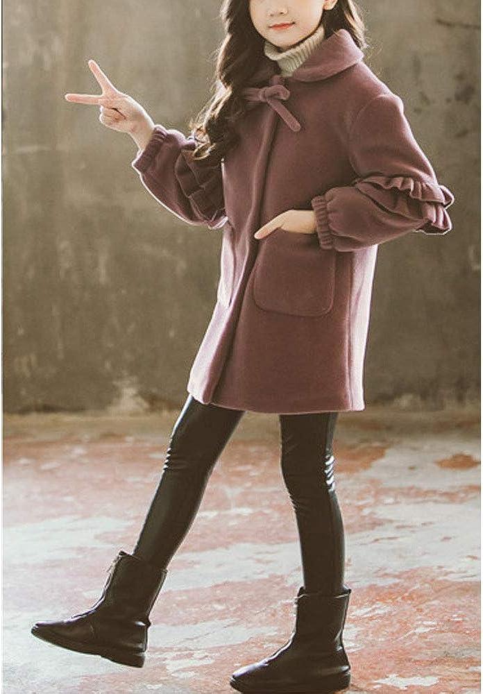 OCHENTA Girls Double-Breasted Thicken Long Sleeves Jacket Lapel Collar Coat