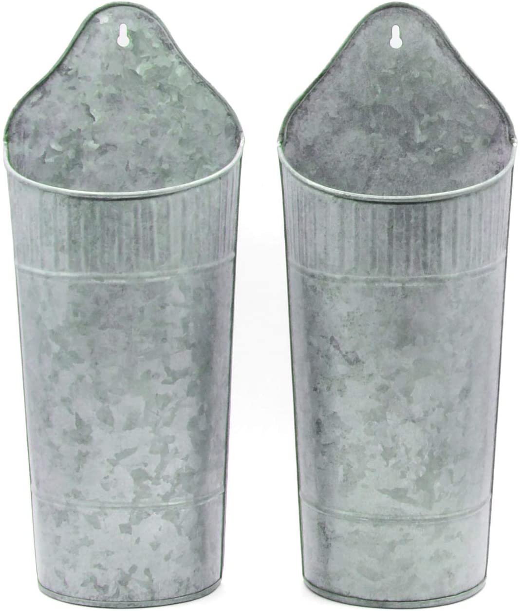 Craftsman Road Rustic Galvanized Wall Planter (Large 15 in, Set of 2) - Metal Wall Vase, Wall Pocket, Farmhouse Wall Decor