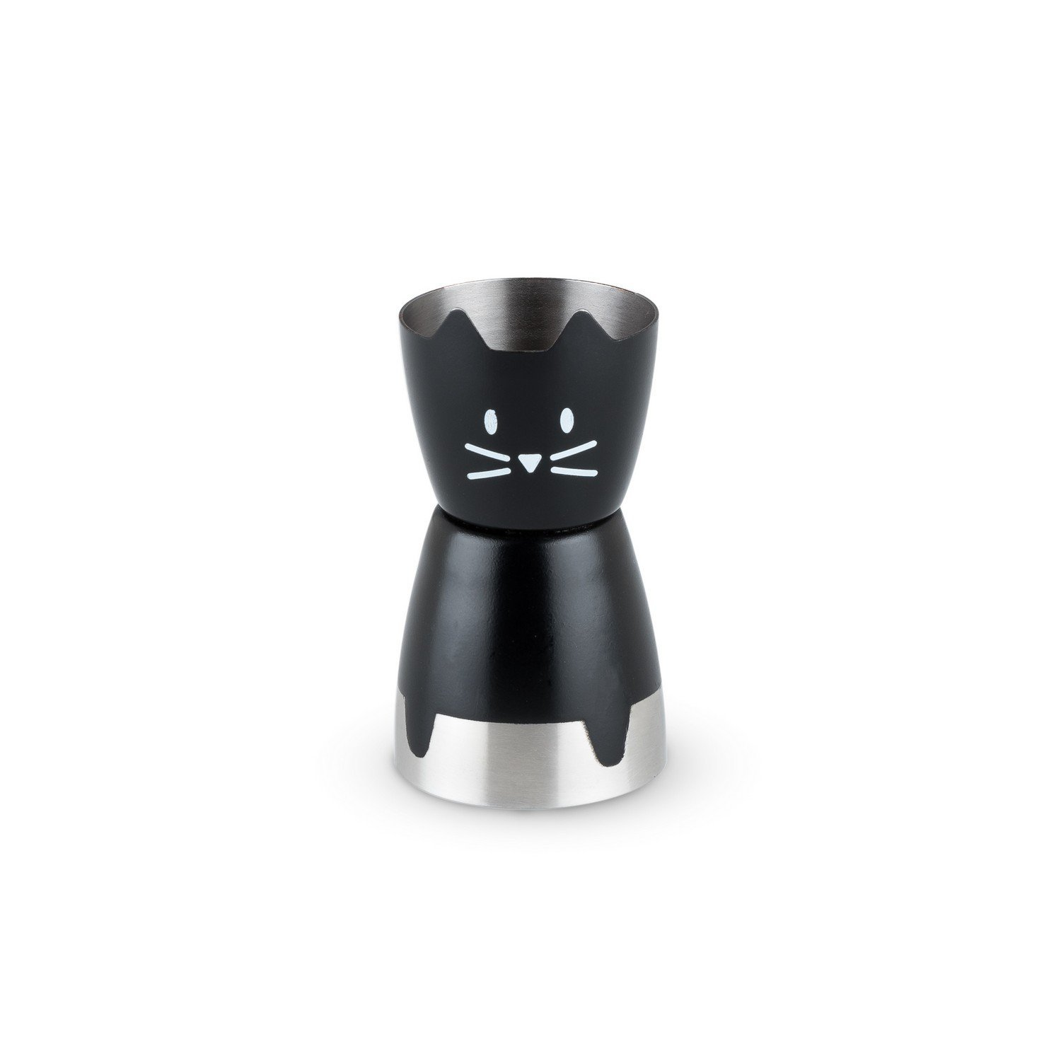Double Jigger Stainless Steel, Cute Black Cat Cocktail Double Jigger (Sold by Case, Pack of 10)