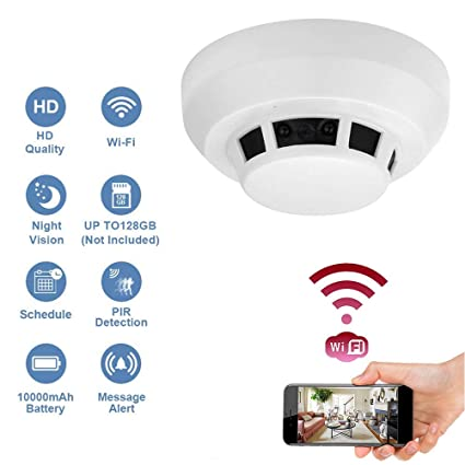 Wi-Fi 1080P Hidden Smoke Detector Camera Night Vision Motion Detection  Wireless IP Camera Security Wall Mount Nanny Cam Home Camera Remote Control