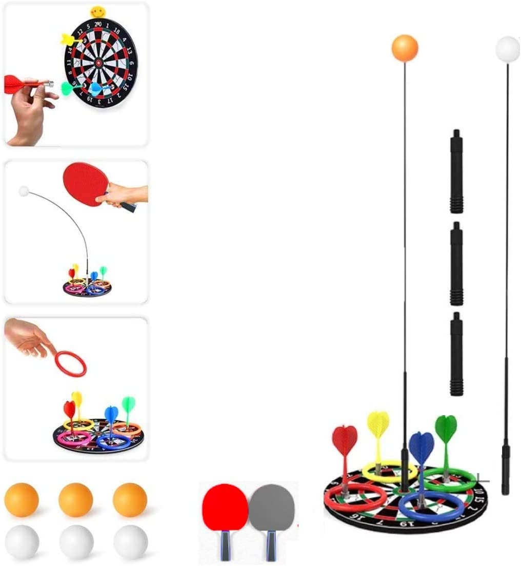 Nobranded 3 in 1 Ping Pong Balls Paddles Set Table Tennis Trainer Ping Pong Training Equipment Kit with Darts and Ring Throughing Elastic Soft Shaft Table Tennis for Beginners Kids Adult