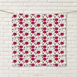 smallbeefly Pink and Green Hand Towel Geometric Retro Composition with Circles and Dots Spotty Pattern Quick-Dry Towels Dark Pink Green Black Size: W 20'' x L 20''