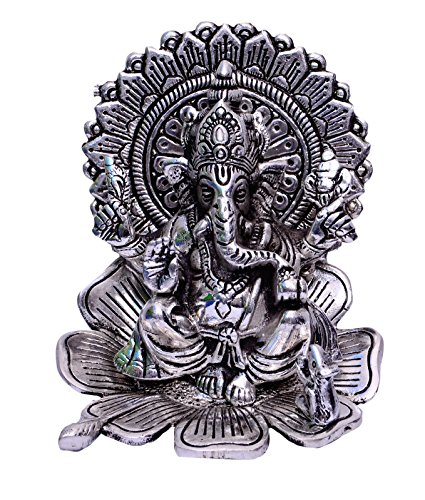 Purpledip Ganesha Ganpathi Statue Idol On Lotus; German Silver Showpiece (10457)